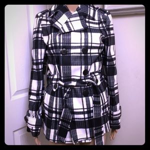 NWOT JouJou Double Breasted Plaid Trench Coat: L